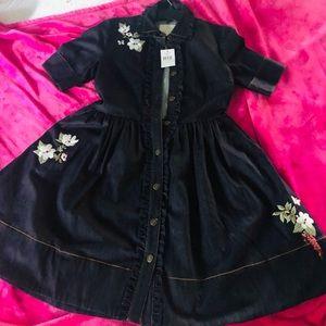 NWT Kate Spade Embroidered Denim Dress